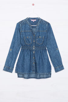 Denim shirt with gathered waist, Medium Wash, hi-res