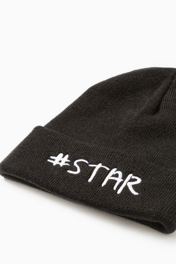 Beanie cap with embroidered lettering, Black/White, hi-res