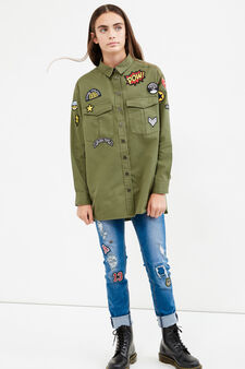 Teen shirt with double chest pocket, Army Green, hi-res