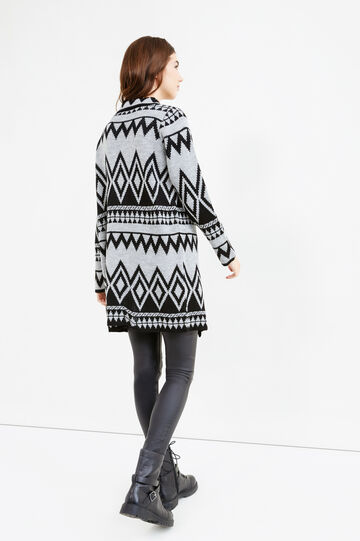 Long cardigan with geometric embroidery, Black/Grey, hi-res