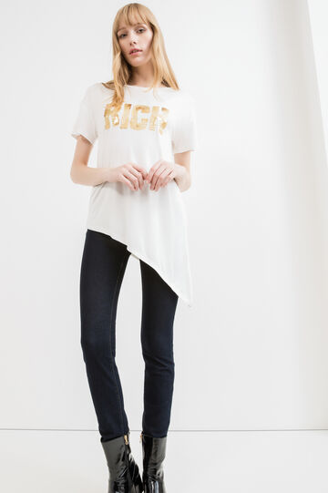 T-shirt viscosa stretch con paillettes, Bianco, hi-res