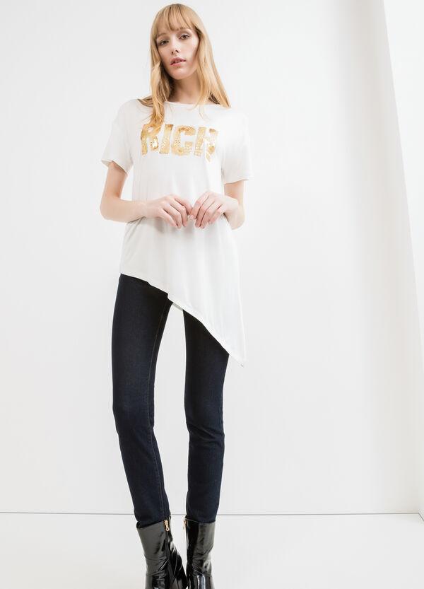 T-shirt viscosa stretch con paillettes | OVS