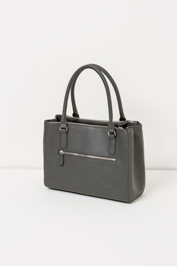 Solid colour shoulder bag with zip, Slate Grey, hi-res