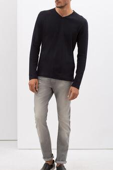 V-neck T-shirt, Black, hi-res