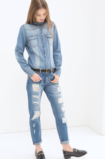 Denim shirt with faded effect, Blue, hi-res