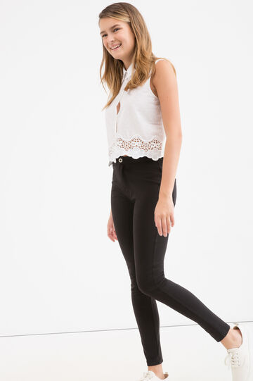 Stretch cotton Teen trousers, Black, hi-res