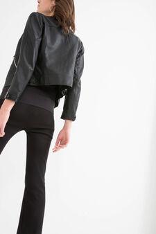 Solid colour leather look jacket, Black, hi-res