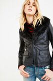 Leather look jacket with fur, Black, hi-res