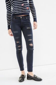 Ripped, skinny fit jeans, Black, hi-res