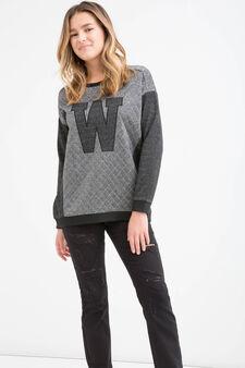 Teen cotton blend quilted sweatshirt, Black, hi-res