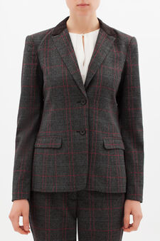 Stretch tartan blazer, Grey/Red, hi-res