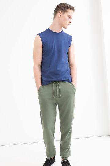 Pantaloni tuta misto cotone, Verde, hi-res