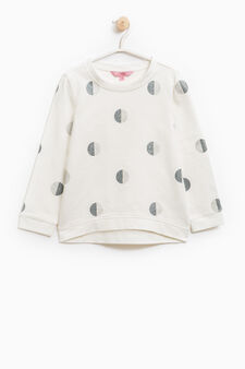 Glitter patterned 100% cotton sweatshirt, Milky White, hi-res