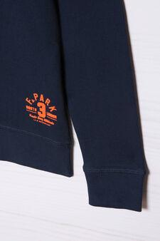 Plain 100% cotton sweatshirt, Navy Blue, hi-res