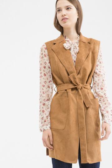 Suede look waistcoat, Cognac Brown, hi-res