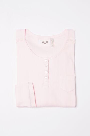 Maglia pigiama cotone a costina, Rosa chiaro, hi-res
