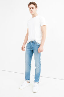 Used-effect slim-fit stretch jeans, Light Wash, hi-res