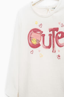 Long-sleeved T-shirt with kitten patch, Off-white, hi-res