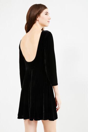 Short velvet dress with full skirt, Black, hi-res