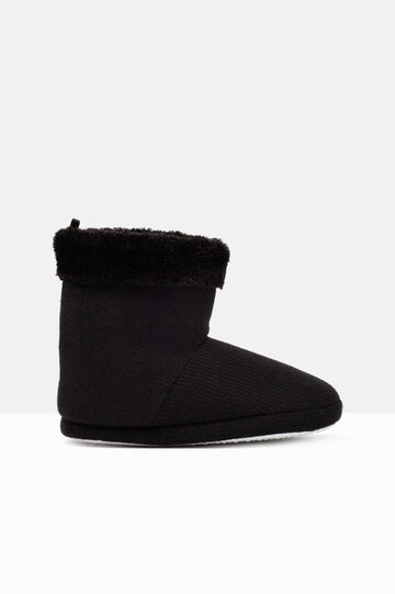 Solid colour slipper boots., Black, hi-res