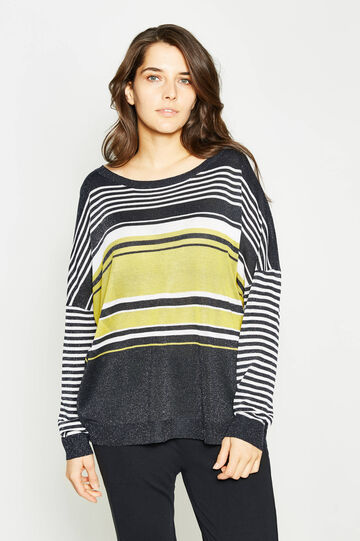 Curvy striped viscose and lurex pullover, Multicolour, hi-res