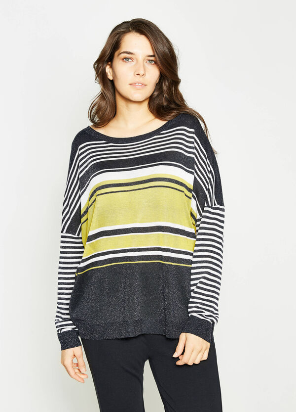 Curvy striped viscose and lurex pullover | OVS