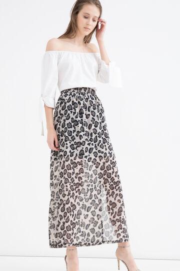 Semi-sheer long skirt, Beige, hi-res