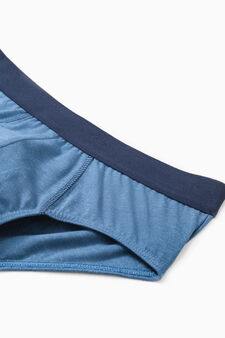 Five-pack solid colour cotton briefs, Blue/Grey, hi-res