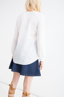Solid colour blouse in 100% cotton, White, hi-res