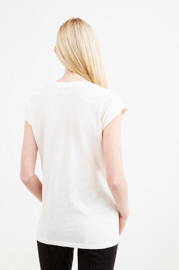 T-shirt puro cotone stampa scheletri, Crema, hi-res