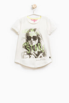 Stretch cotton T-shirt with glitter print, Milky White, hi-res