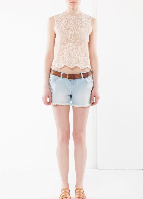 Shorts jeans taglio laserato con ricami | OVS