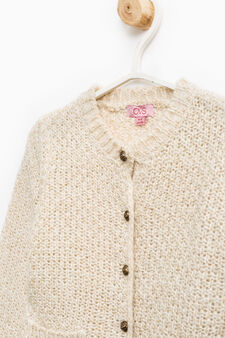Knitted cardigan with lurex inserts, Beige, hi-res