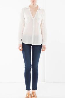 Camicia con colletto e pinces, Bianco, hi-res