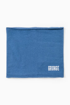 Cotton neck warmer with printed lettering, Royal Blue, hi-res