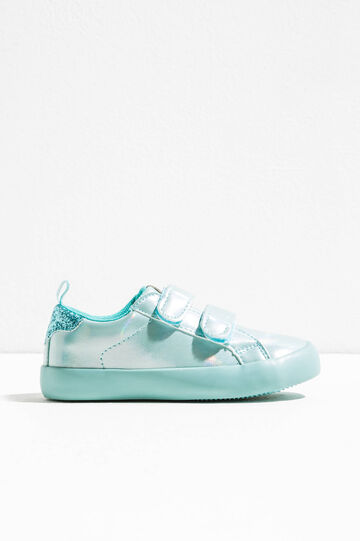 Glitter sneakers with Velcro fastening, Turquoise Blue, hi-res