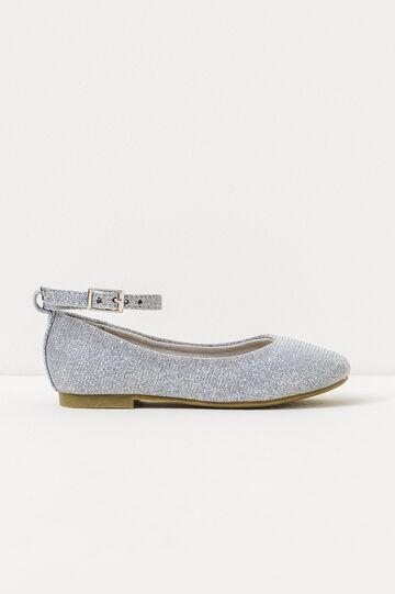 Glitter ballerina pumps with strap, Grey/Silver, hi-res