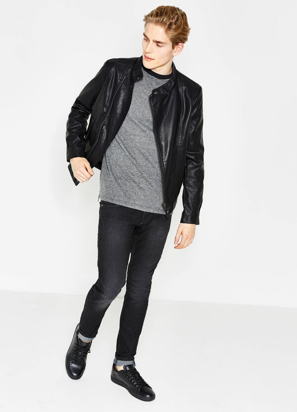 Leather-look jacket with asymmetric zip. | OVS
