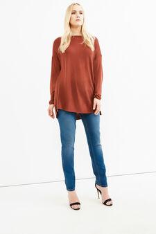 Jeans stretch effetto delavato Curvy, Blu, hi-res