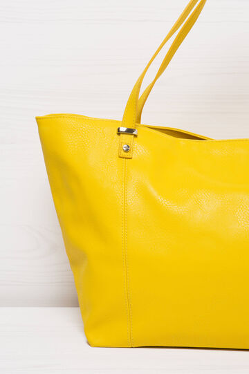 Solid colour leather look shoulder bag., Yellow, hi-res