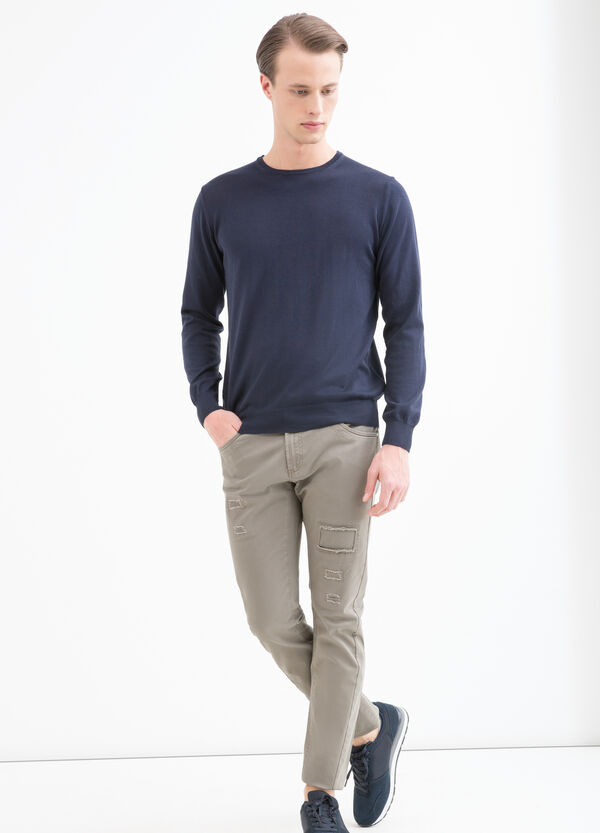 Stretch cotton trousers with abrasions | OVS