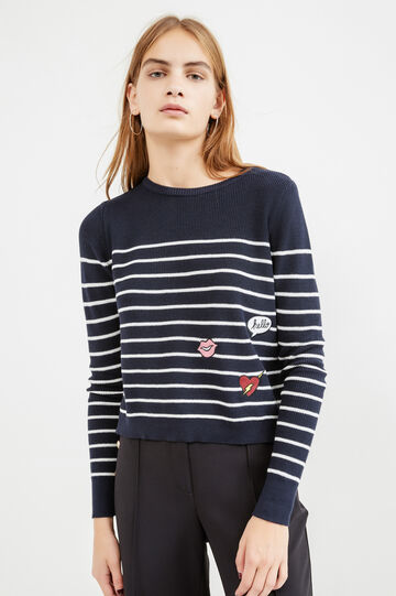 Striped pattern pullover with slits, White/Blue, hi-res