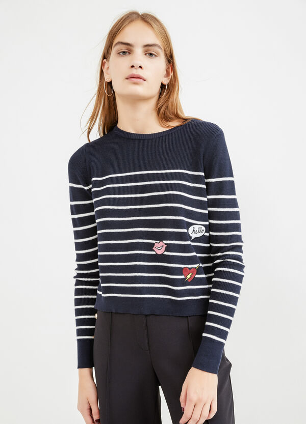 Striped pattern pullover with slits | OVS