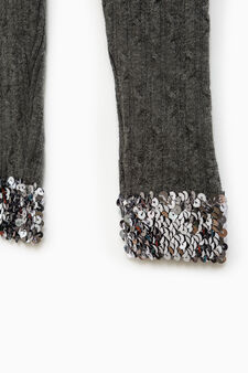 Knitted leggings with sequins, Dark Grey Marl, hi-res