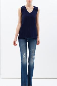 Plain sleeveless blouse., Navy Blue, hi-res