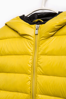 Solid colour down jacket with hood, Acid Green, hi-res
