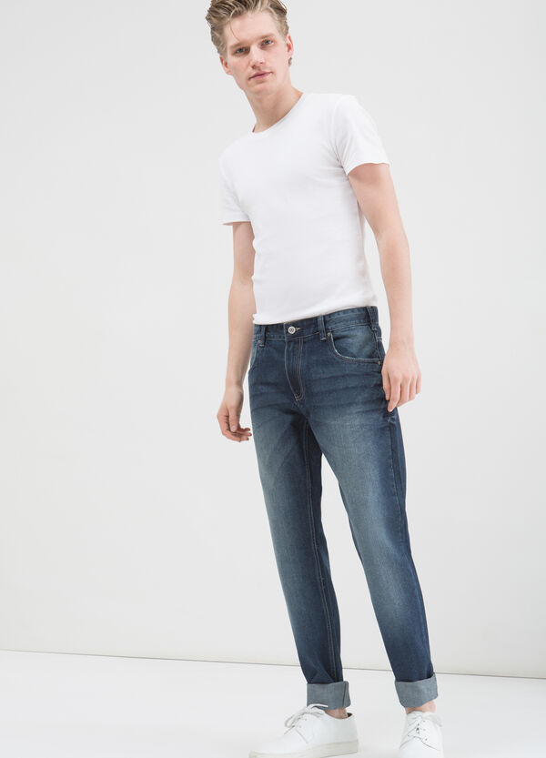 Used effect regular fit jeans with five pockets | OVS