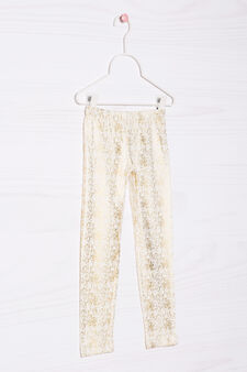 Patterned leggings in stretch cotton., Milky White, hi-res