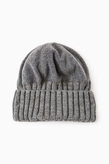 Cappello a cuffia pile e tricot, Grigio melange, hi-res