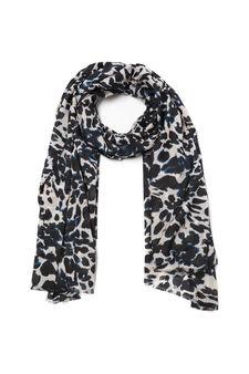 Animal print scarf, White/Black, hi-res